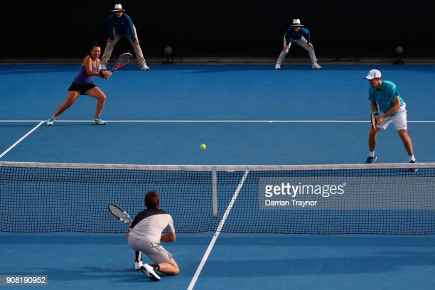 Casey Dellacqua of Australia and John Peers of Australia in their second round mixed doubles match against Johanna Larsson of Sweden and Matwe...