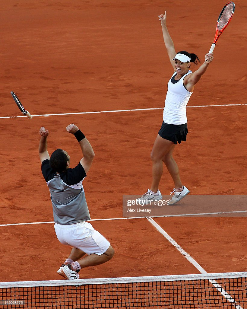 Casey Dellacqua of Australia and Scott Lipsky of USA celebrate match point during the mixed doubles final match between Katarina Srebotnik of Slovenia and Nenad Zimonjic of Serbia and Casey Dellacqua of Australia and Scott Lipsky of USA on day twelve of the French Open at Roland Garros on June 2, 2011 in Paris, France.