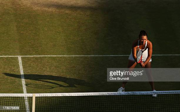 Casey Dellacqua of Australia awaits a serve partnering Ashleigh Barty of Australia during the Ladies' Doubles Final against SuWei Hsieh of Chinese...
