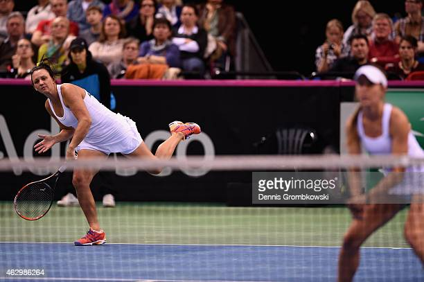 Casey Dellacqua of Australia in action during the Fed Cup 2015 World Group First Round tennis between Germany and Australia at PorscheArena on...
