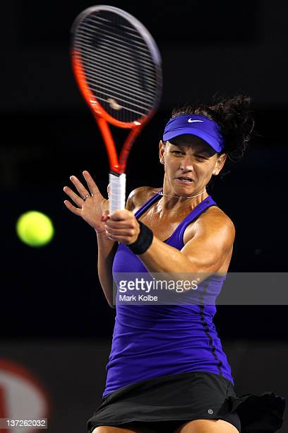 Casey Dellacqua of Australia plays a forehand in her second round match against Victoria Azarenka of Belarus during day three of the 2012 Australian...