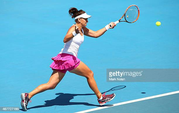 Casey Dellacqua of Australia plays a forehand in her singles match against Irina Khromacheva of Russia during the Fed Cup tie between Australia and...