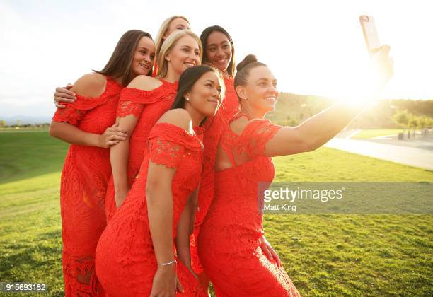 Casey Dellacqua takes a selfie with Australia team members Lizette Cabrera Daria Gavrilova Ashleigh Barty Destanee Aiava and Australia captain Alicia...