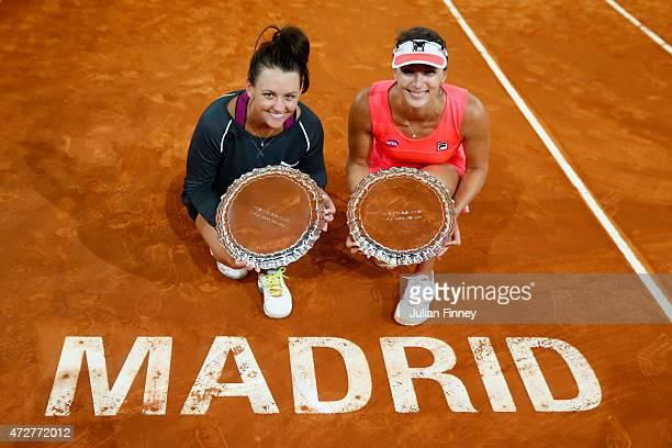 Casey Dellacque of Australia and Yaroslava Shvedova of Kazakhstan with the winners trophies after their win over Garbine Muguruza and Carla Suarez...