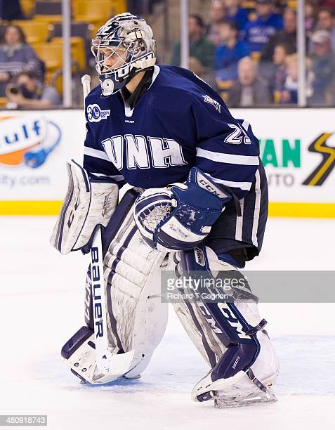 Casey DeSmith of the New Hampshire Wildcats tends goal against the Massachusetts Lowell River Hawks during NCAA hockey action in the Hockey East...