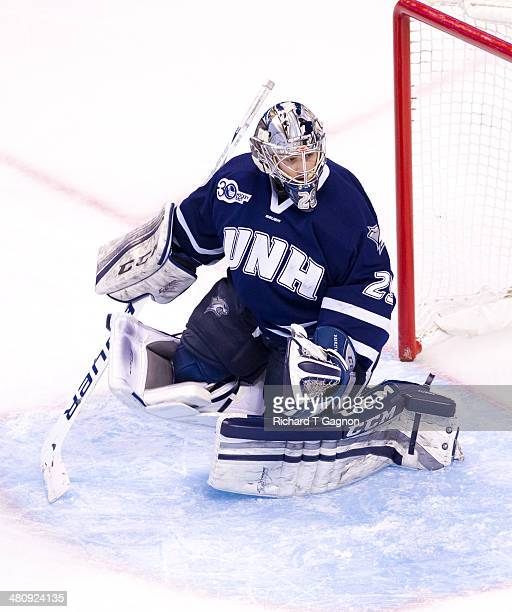 Casey DeSmith of the New Hampshire Wildcats tends goal against the Providence College Friars during NCAA hockey action in the Hockey East...
