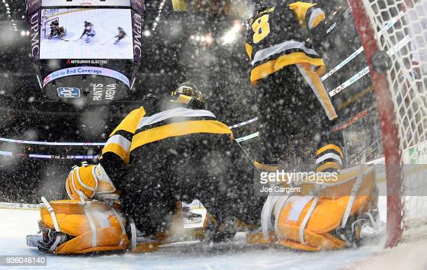Casey DeSmith of the Pittsburgh Penguins can't make the save on Jonathan Drouin of the Montreal Canadiens at PPG Paints Arena on March 21 2018 in...