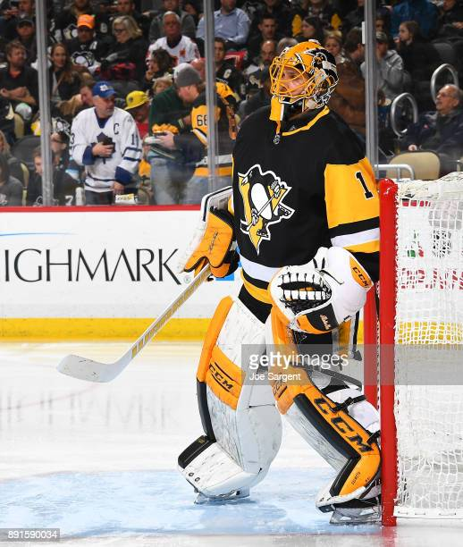 Casey DeSmith of the Pittsburgh Penguins defends the net against the Toronto Maple Leafs at PPG Paints Arena on December 9 2017 in Pittsburgh...