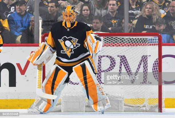 Casey DeSmith of the Pittsburgh Penguins defends the net against the Ottawa Senators at PPG Paints Arena on April 6 2018 in Pittsburgh Pennsylvania