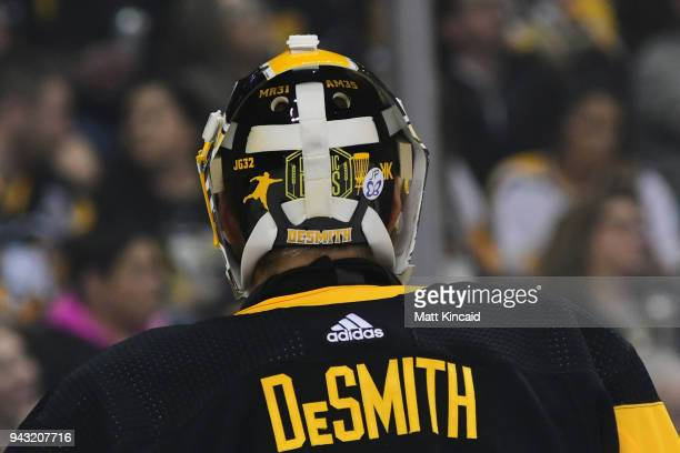 Casey DeSmith of the Pittsburgh Penguins displays a butterfly sticker on his helmet during a game against the Ottawa Senators at PPG PAINTS Arena on...
