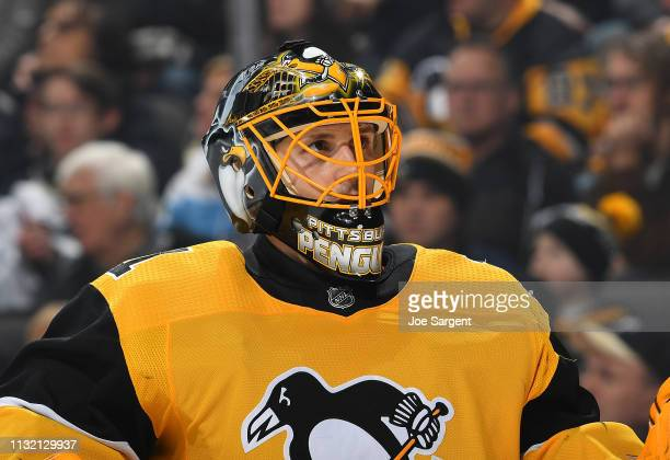 Casey DeSmith of the Pittsburgh Penguins looks on against the New York Rangers at PPG Paints Arena on February 17 2019 in Pittsburgh Pennsylvania