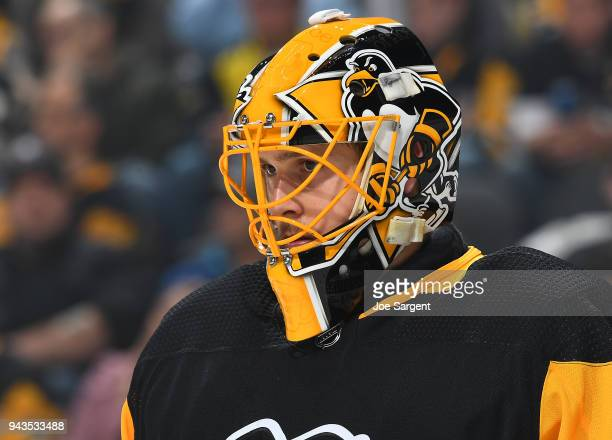 Casey DeSmith of the Pittsburgh Penguins looks on against the Ottawa Senators at PPG Paints Arena on April 6 2018 in Pittsburgh Pennsylvania