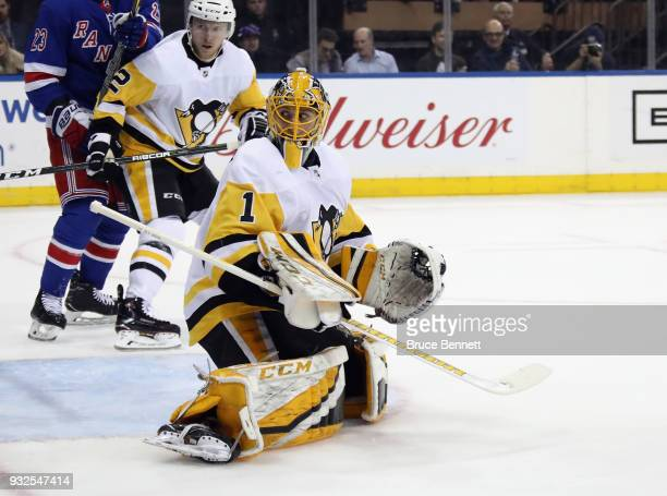 Casey DeSmith of the Pittsburgh Penguins skates against the New York Rangers at Madison Square Garden on March 14 2018 in New York City