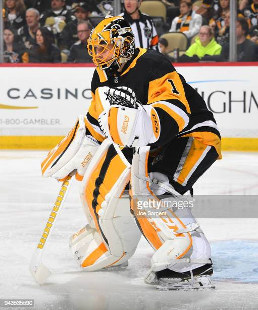 Casey DeSmith of the Pittsburgh Penguins skates against the Ottawa Senators at PPG Paints Arena on April 6 2018 in Pittsburgh Pennsylvania