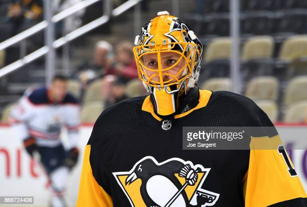 Casey Desmith of the Pittsburgh Penguins warms up prior to the game against the Edmonton Oilers at PPG Paints Arena on October 24 2017 in Pittsburgh...