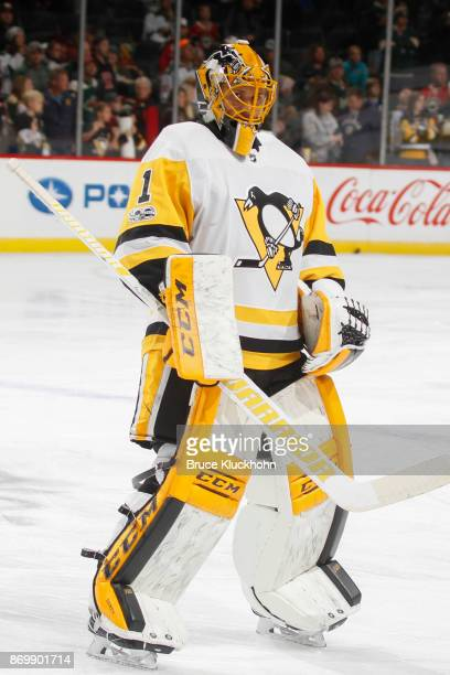 Casey DeSmith of the Pittsburgh Penguins warms up prior to the game against the Minnesota Wild at the Xcel Energy Center on October 28 2017 in St...