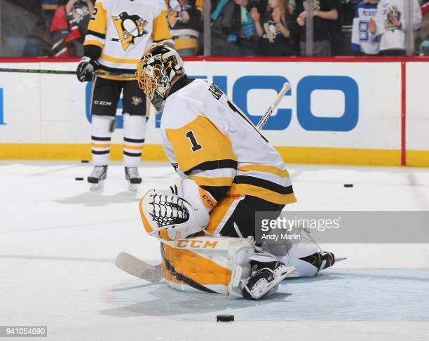 Casey DeSmith of the Pittsburgh Penguins warms up prior to the game against the New Jersey Devils at Prudential Center on March 29 2018 in Newark New...