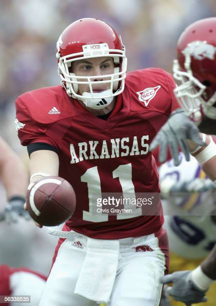 Casey Dick of the University of Arkansas Razorbacks executes a hand off play during the game with the Louisiana State University Tigers on November...