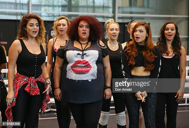 Casey Donovan is seen performing during rehearsals for We Will Rock You at ABC Studios on April 7 2016 in Sydney Australia