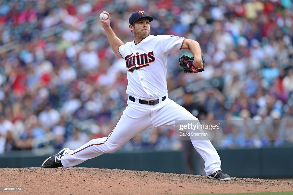 Casey Fien #50 of the Minnesota Twins pitches in relief agains the Los Angeles Angels of Anaheim in the 8th inning at Target Field on September 20, 2015 in Minneapolis, Minnesota. The Twins defeated the Angels 8-1.