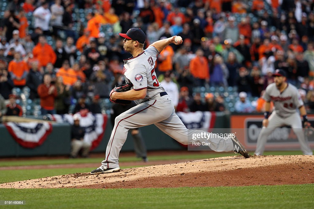 Casey Fien #50 of the Minnesota Twins throws to a Baltimore Orioles batter in the fifth inning during their Opening Day game at Oriole Park at Camden Yards on April 4, 2016 in Baltimore, Maryland.