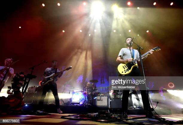 Casey Foubert Yuuki Matthews Jon Sortland and James Mercer of The Shins perform in support of the band's 'Heartworms' release at The Greek Theatre on...