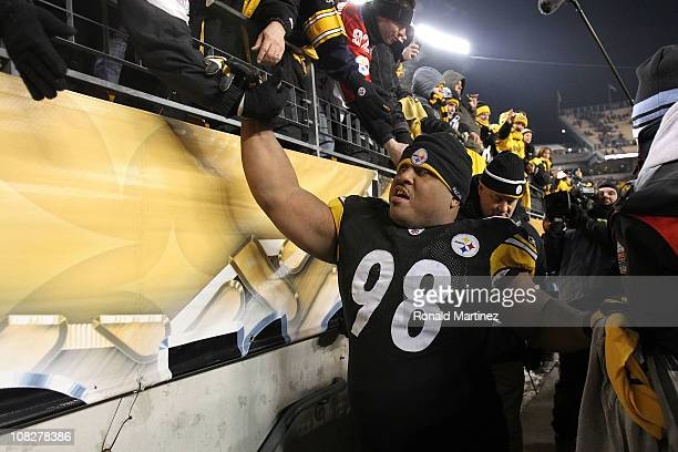 Casey Hampton of the Pittsburgh Steelers celebrates their 24 to 19 win over the New York Jets in the 2011 AFC Championship game at Heinz Field on...
