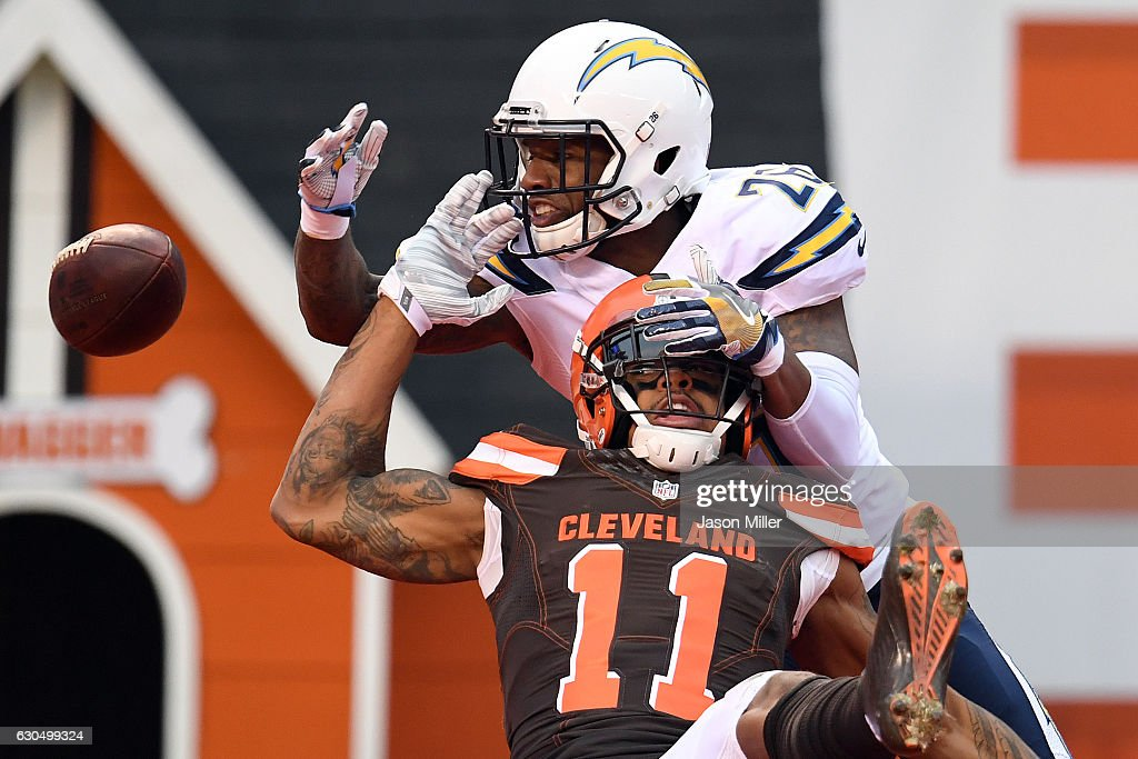 Casey Hayward #26 of the San Diego Chargers breaks up a pass intended for Terrelle Pryor #11 of the Cleveland Browns in the second quarter at FirstEnergy Stadium on December 24, 2016 in Cleveland, Ohio.