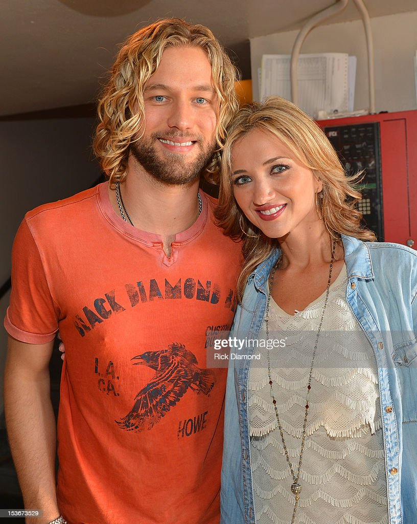 Casey James and Sarah Darling pose backstage during the CAA Party at IEBA Conference Day 2 at the War Memorial Audorium on October 8, 2012 in Nashville, Tennessee.