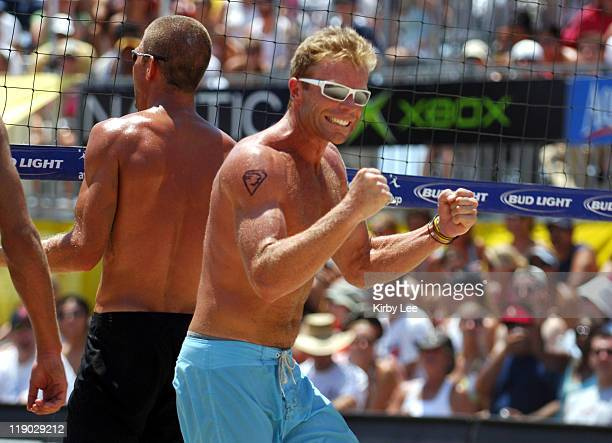 Casey Jennings celebrates a point during the AVP Hermosa Beach Open in Hermosa Beach Calif on Saturday July 23 2005