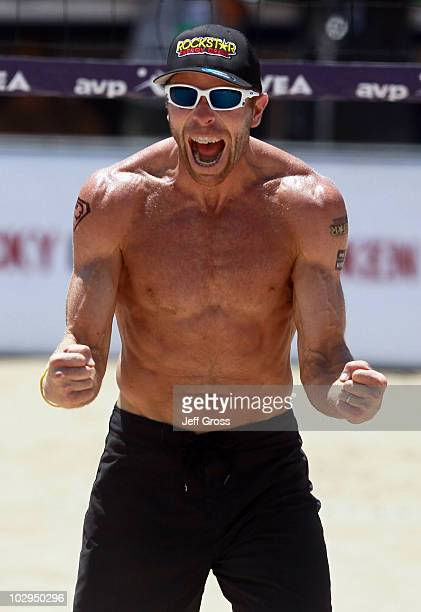 Casey Jennings celebrates after winning a point during the AVP Hermosa Beach Open at the Hermosa Beach Pier on July 17 2010 in Hermosa Beach...