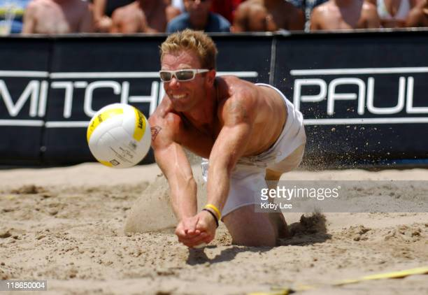 Casey Jennings makes a diving save during the AVP Hermosa Beach Open men's final in Hermosa Beach Calif on Saturday July 23 2005 Jennings teamed with...