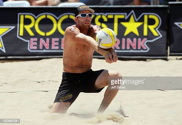 Casey Jennings passes the ball during the AVP Hermosa Beach Open at the Hermosa Beach Pier on July 17 2010 in Hermosa Beach California