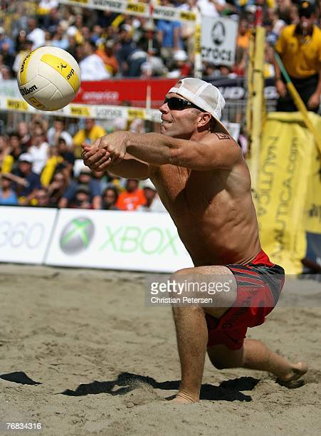 Casey Jennings passes the ball in the AVP San Francisco Best of the Beach Open final match against Jake Gibb and Sean Rosenthal at Pier 30/32 on...