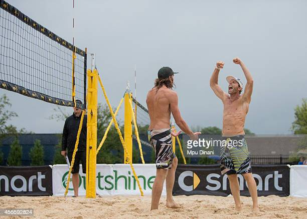 Casey Jennings reacts after he and Jeremy Casebeer win their match at the 2014 AVP Cincinnati Open on August 31 2014 at the Lindner Family Tennis...