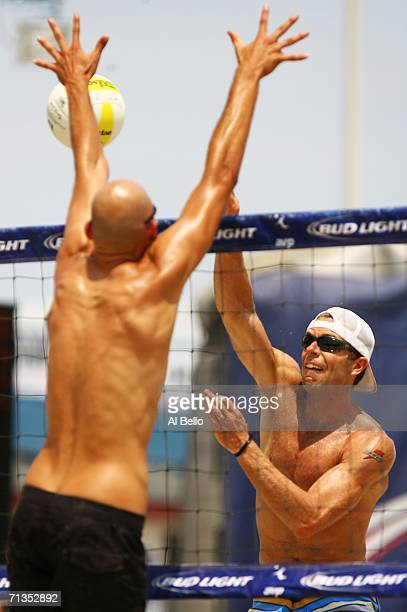 Casey Jennings spikes the ball against Phil Dalhausser during the AVP Seaside Heights Open on July 2 2006 in Seaside Heights New Jersey