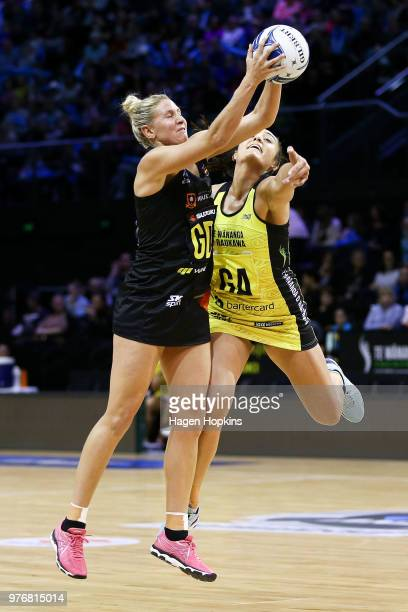 Casey Kopua of the Magic and Tiana Metuarau of the Pulse compete for the ball during the round 17 ANZ Premiership match between the Pulse and the...
