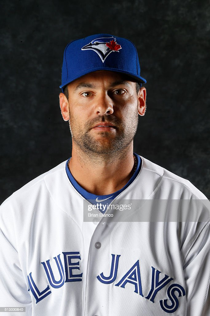 Casey Kotchman #35 of the Toronto Blue Jays poses for a photo during the Blue Jays' photo day on February 27, 2016 in Dunedin, Florida.