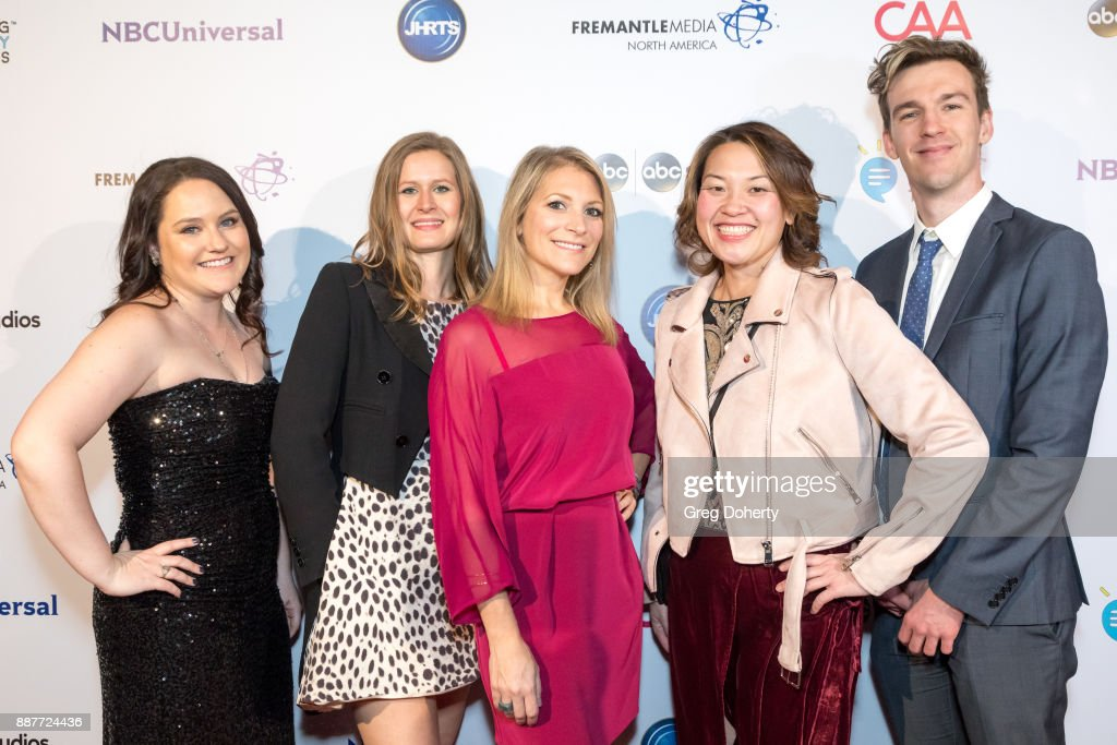 Casey Larsen, Kiery Kratz, JHRTS CEO Melissa Grego, Maggie Chow and Stephen Walker attend The Junior Hollywood Radio & Television Society's 15th Annual Holiday Party at Le Jardin on December 6, 2017 in Hollywood, California.