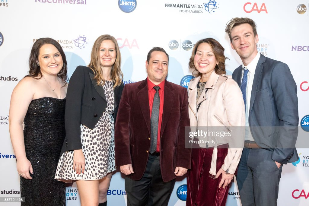 Casey Larsen, Kiery Kratz, Ruzo Martinelli, Maggie Chow and Stephen Walker attend The Junior Hollywood Radio & Television Society's 15th Annual Holiday Party at Le Jardin on December 6, 2017 in Hollywood, California.