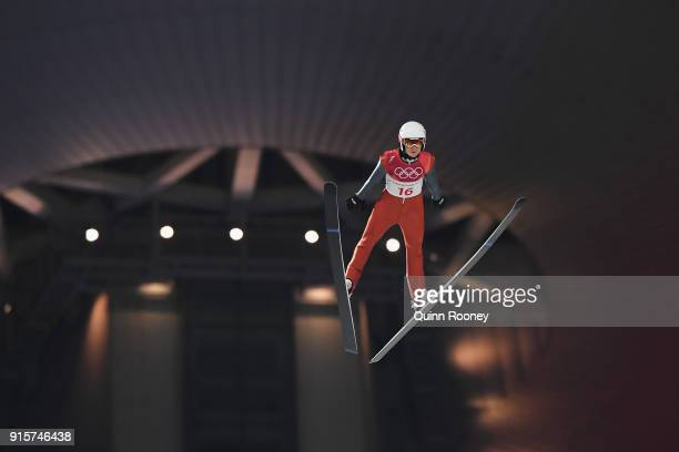 Casey Larson of the United States jumps during Men's Normal Hill Individual Qualification at Alpensia Ski Jumping Centre on February 8 2018 in...