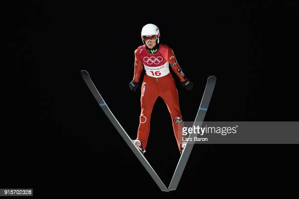 Casey Larson of the United States jumps during Men's Normal Hill Individual Trial Round for Qualification at Alpensia Ski Jumping Centre on February...