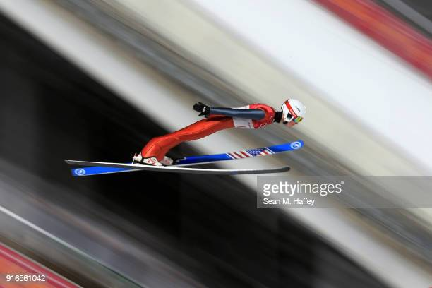 Casey Larson of the United States makes a jump during the Ski Jumping Men's Normal Hill Individual Final on day one of the PyeongChang 2018 Winter...