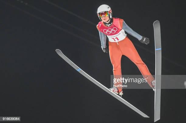 Casey Larson ofUnited States at mens normal hill final at 2018 Pyeongchang winter olympics at Alpensia Ski Jumping Centre Pyeongchang South Korea on...