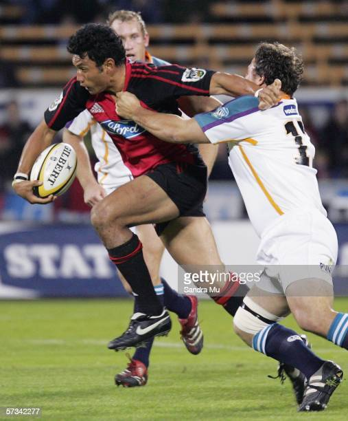 Casey Laulala of the Crusaders in action during the round ten Super 14 match between the Crusaders and the Cheetahs at Jade Stadium April 15 2006 in...