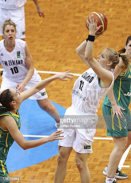 Casey Lockwood of the Tall Ferns takes a shot during the Women's FIBA Oceania Championship match between the Australian Opals and the New Zealand...