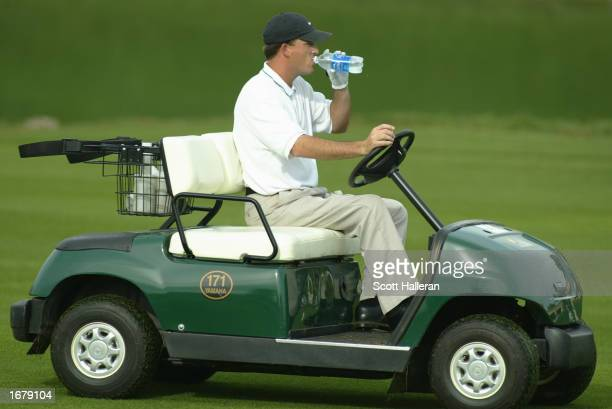 Casey Martin rides up a fairway during the final round of PGA Tour Qualifying on December 9 2002 at PGA West in La Quinta California