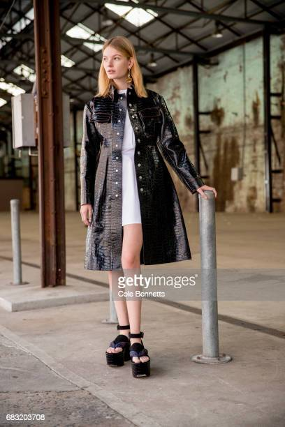 Casey Mathews wears Ellery during MercedesBenz Fashion Week Resort 18 Collections at Carriageworks on May 15 2017 in Sydney Australia