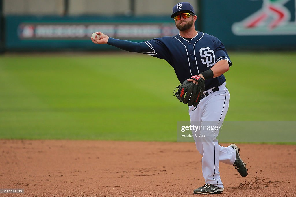 Casey McEloy #22 of San Diego Padres throws the ball during the preseason match between Houston Astros and San Diego Padres at Fray Nano Stadium on March 27, 2016 in Mexico City, Mexico.