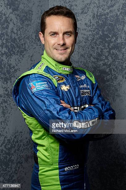 Casey Mears driver of the GEICO Ford poses for a portrait during the 2014 NASCAR Media Day at Daytona International Speedway on February 13 2014 in...